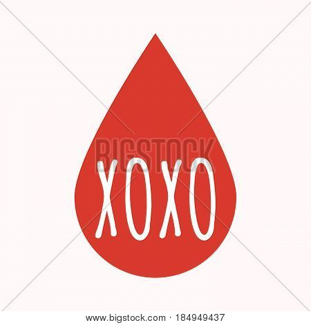 Isolated Blood Drop With    The Text Xoxo