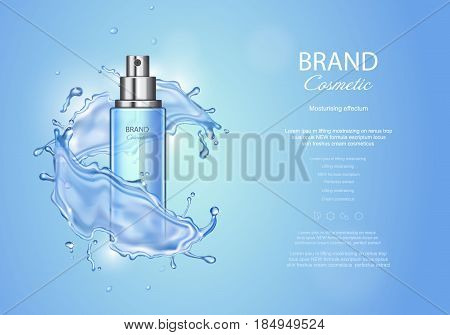 Ice toner ads on blue background. Spray bottle water drops elements, realistic cosmetics product vector illustration,
