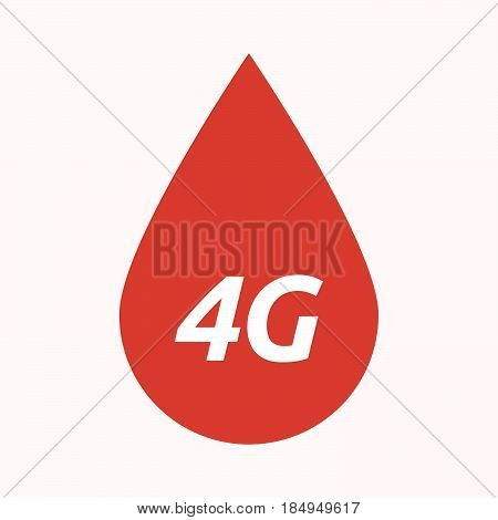 Isolated Blood Drop With    The Text 4G