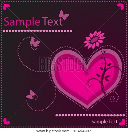 Vector - Heart shaped symbol with floral and nature background. Concept: Romance