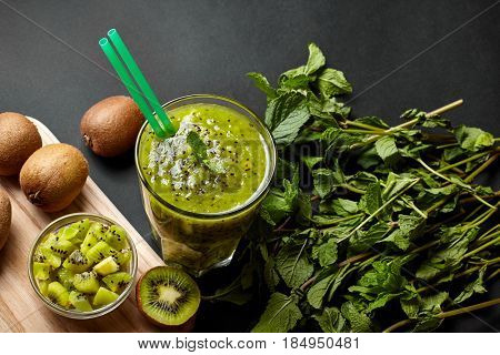 Fresh Green Smoothie With Kiwi And Mint . Love For A Healthy Raw Food Concept. Healthy Eating. Fruit