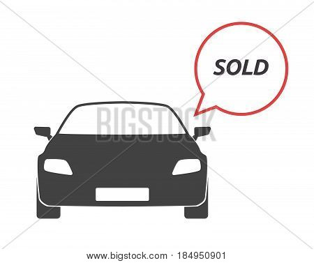 Isolated Car With    The Text Sold