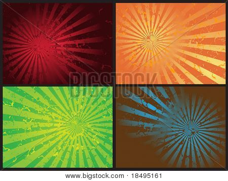 Vector - Star burst grunge retro effect, 4 different effects and colors.