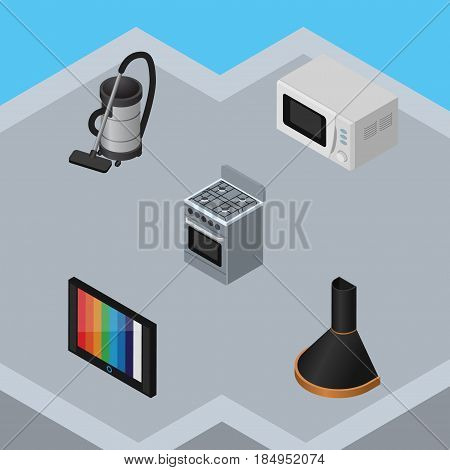 Isometric Device Set Of Air Extractor, Television, Vac And Other Vector Objects. Also Includes Hood, Stove, Cooker Elements.
