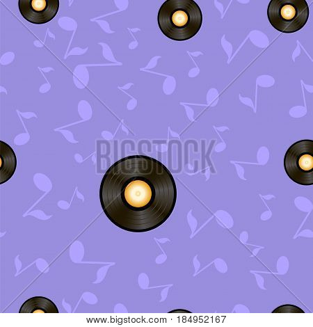 Vynil Records and Musical Notes Seamless Pattern on Blue Background