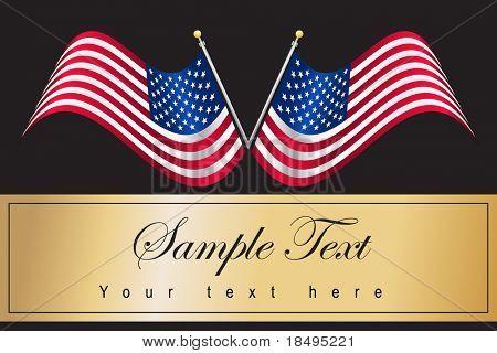 Vector - American USA flag waving with metallic or metal effect and pole.