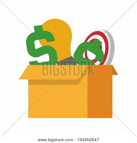 cardboard box with money sign lightbulb and bullseye icon image vector illustration design