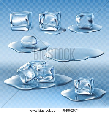 Set of vector illustrations of wet melting ice cubes and water puddles in realistic style