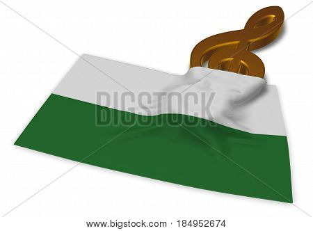 clef symbol and saxon flag - 3d rendering