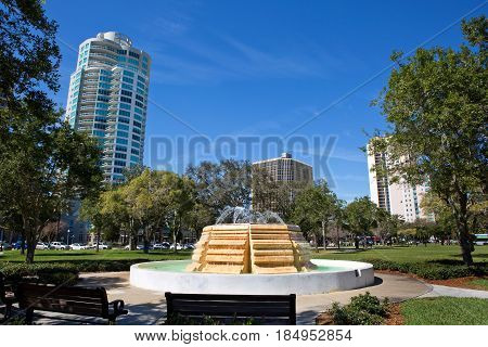 Water fountain in South Straub Park located in St. Petersburg Florida USA.