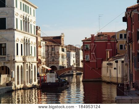 Chioggia, Italy. Ancient palaces, a bridge, the canal