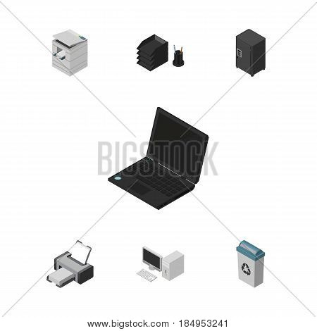 Isometric Office Set Of Strongbox, Desk File Rack, Garbage Container And Other Vector Objects. Also Includes Photocopier, Strongbox, Machine Elements.