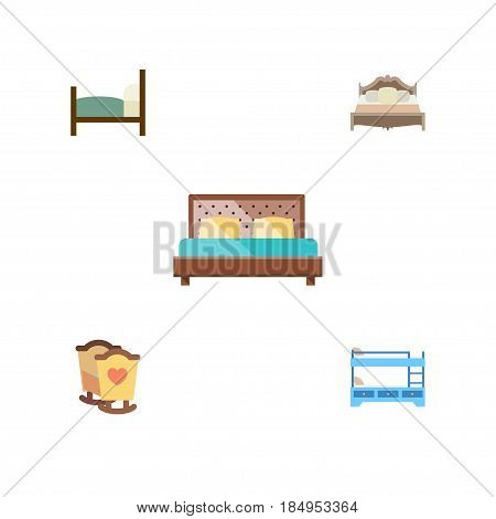 Flat Bedroom Set Of Bunk Bed, Bed, Bedroom And Other Vector Objects. Also Includes Bearings, Bed, Cot Elements.