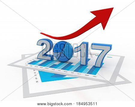 business graph with arrow up and 2017 symbol, represents growth in the new year 2017, three-dimensional rendering, 3D illustration