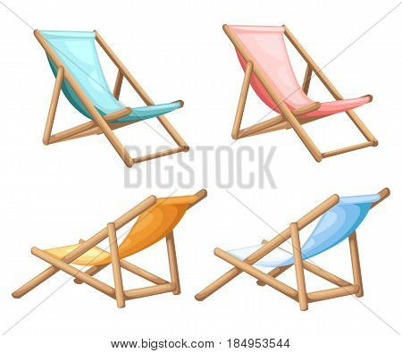 Wooden Beach Chaise Lounge Different Design Vector Set Illustration Isolated On Background Summer Ba