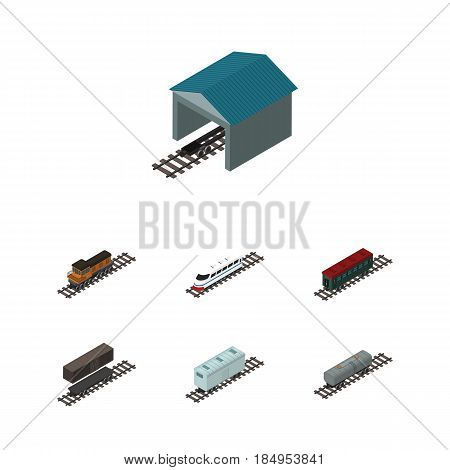 Isometric Train Set Of Subway Vehicle, Railroad Carriage, Delivery Tank And Other Vector Objects. Also Includes Petroleum, Depot, Speed Elements.