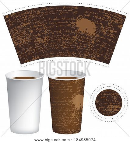 vector template paper cup for hot drink with the texture of manuscript with splashes and spots