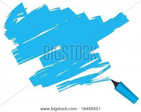 Raster - 3D highlighter pen drawing on paper.