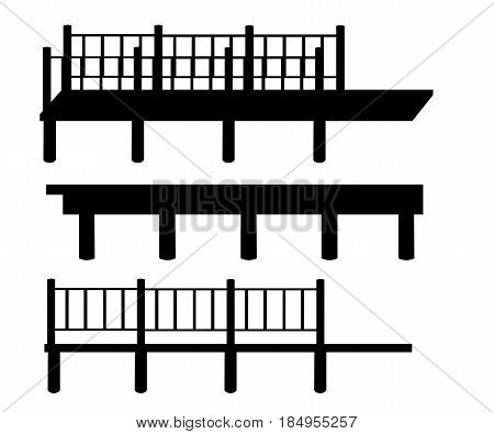 Pier Is An Illustration Of Piers In Silhouette, In Black And White Lines