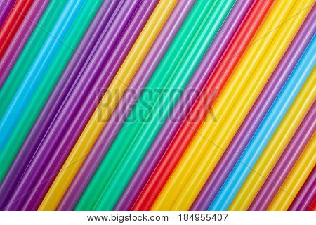 Colorful Drinking Straws For The Color Background. Abstract A Colorful Of Plastic Straws Used For Dr