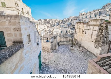 Panoramic View Of Typical Stones (sassi Di Matera) Near Gravina Of Matera Unesco European Capital Of