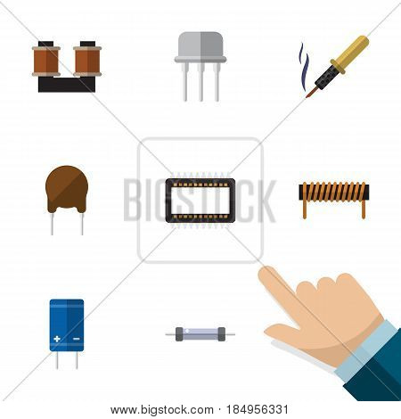 Flat Technology Set Of Bobbin, Repair, Transistor And Other Vector Objects. Also Includes Semiconductor, Unit, Resistor Elements.