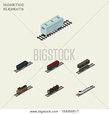 Isometric Transport Set Of Delivery Tank, Subway Vehicle, Underground And Other Vector Objects. Also Includes Railway, Container, Underground Elements.