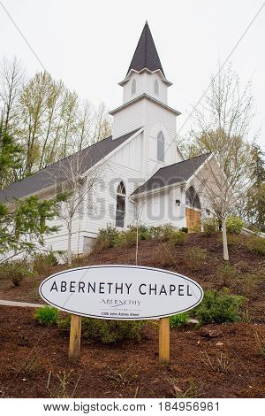 OREGON CITY, OR - APRIL 9, 2017: Abernethy Chapel building at Abernethy Center in Oregon City.
