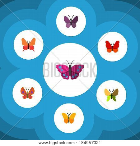 Flat Monarch Set Of Violet Wing, Danaus Plexippus, Moth And Other Vector Objects. Also Includes Moth, Butterfly, Milkweed Elements.