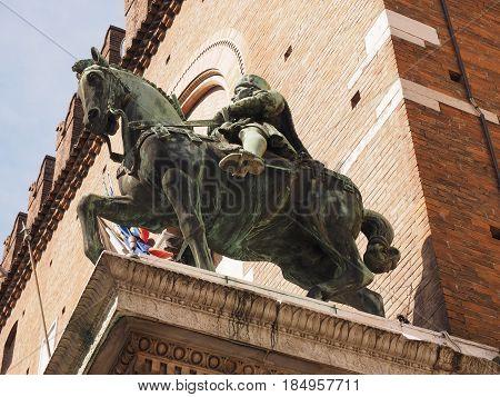 The statue of Duke Niccolò III d'Este. Ferrara, Italy.