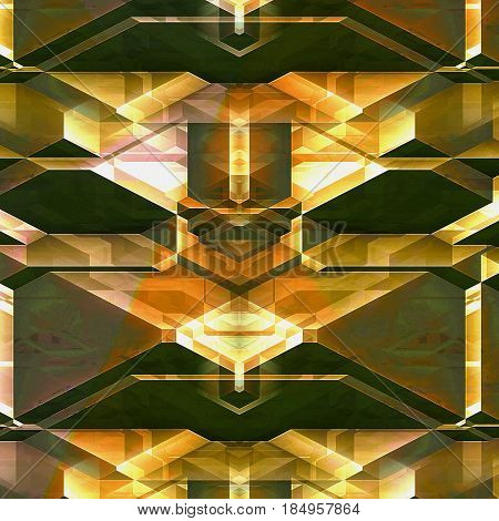 Abstract futuristic background of blocks resembling detail of modern architecture. Brown, orange, white and yellow stylized modern architectural background. 3d illustration