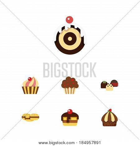 Flat Cake Set Of Pastry, Muffin, Cake And Other Vector Objects. Also Includes Delicious, Sweetmeat, Patisserie Elements. poster