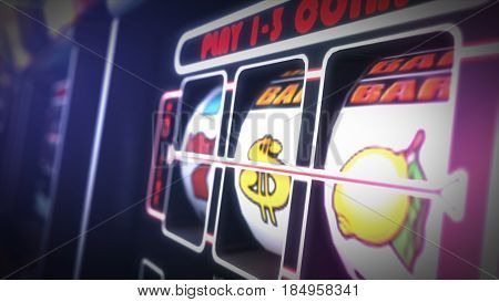 Casino Slot Games Playing Concept 3D Illustration. One Armed Bandit Slot Machine Closeup.