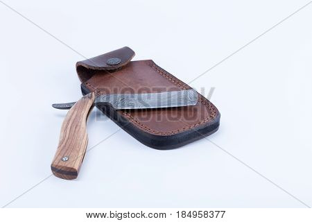Cut Throat Razor Forged By Damascus Steels With Natural Wood Handle And Leather Sheath Isolated On W