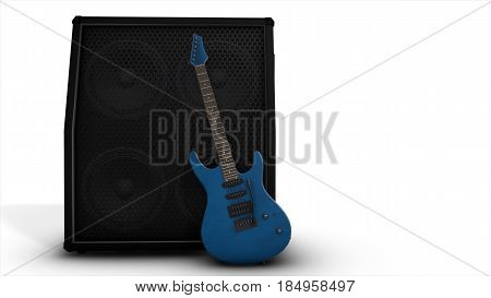 Electric Blue Guitar With A Big Combo