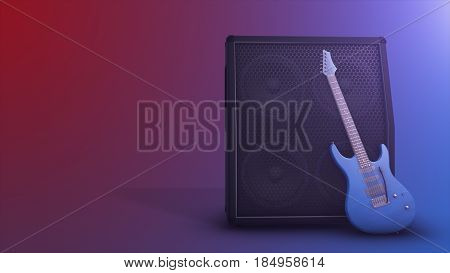 Combo Amplifier For Guitar With Guitar On The Red Blue Background With Copy Space 3D Illustration