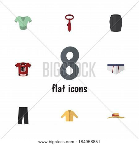 Flat Clothes Set Of Cravat, T-Shirt, Casual And Other Vector Objects. Also Includes Woman, Underwear, Man Elements.
