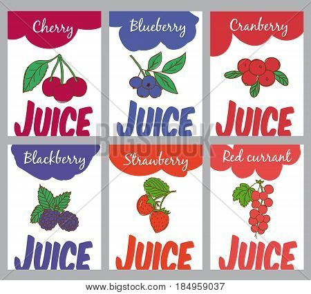 Hand drawn natural juices brochures with cherry blueberry cranberry blackberry strawberry and red currant berries vector illustration