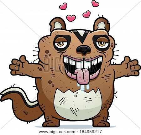 Cartoon Ugly Chipmunk Hug