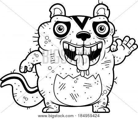 Cartoon Ugly Chipmunk Waving