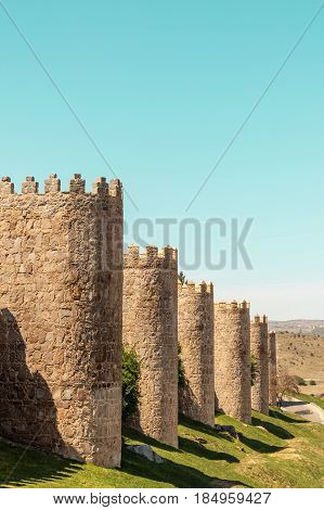 A view over the walls of Avila, an old town in Spain
