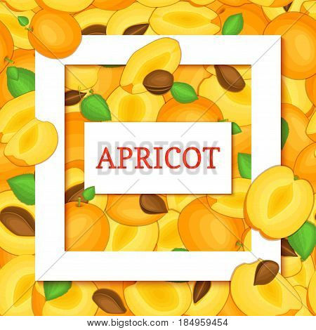 Square white frame and rectangle label on apricot fruit leaves background. Vector card illustration. Ripe fresh and juicy apricots fruits for design of food packaging juice breakfast detox diet
