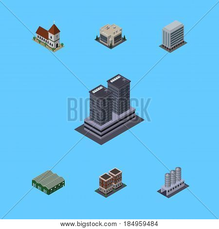 Isometric Architecture Set Of Tower, Chapel, House And Other Vector Objects. Also Includes Office, Depot, Warehouse Elements.
