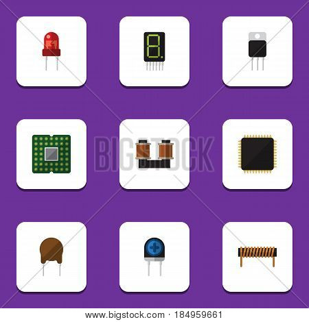 Flat Device Set Of Bobbin, Recipient, Cpu And Other Vector Objects. Also Includes Unit, Calculate, Motherboard Elements.