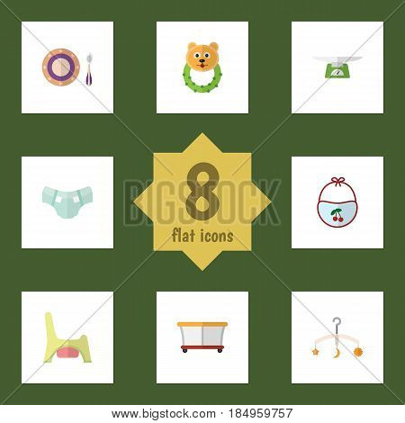 Flat Kid Set Of Nappy, Toilet, Mobile And Other Vector Objects. Also Includes Plate, Pinafore, Bear Elements.