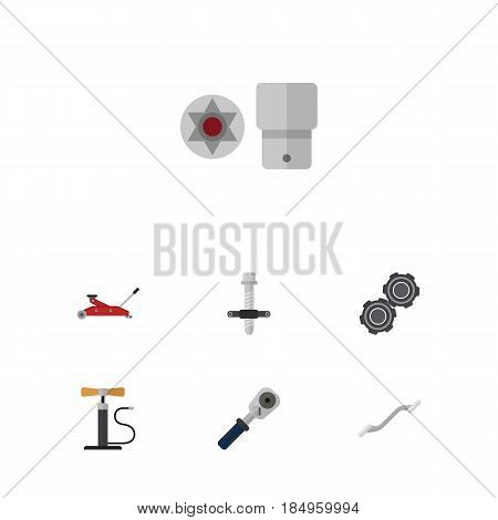Flat Service Set Of Muffler, Lifting, Coupler And Other Vector Objects. Also Includes Turnscrew, Block, Coupler Elements.
