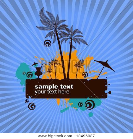 Vector - Summer island illustration with palm tress and starburst. Place for text.