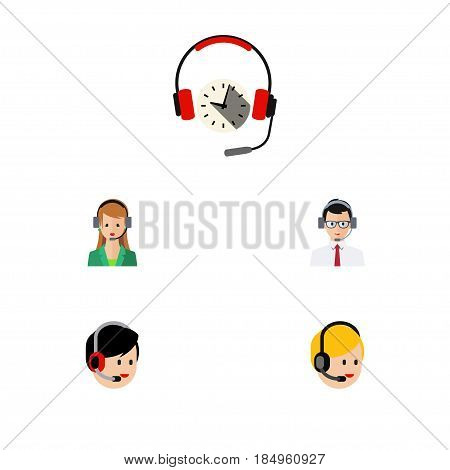 Flat Telemarketing Set Of Call Center, Headphone, Secretary And Other Vector Objects. Also Includes Secretary, Call, Hotline Elements.