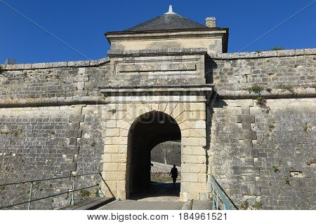 Door With The Drawbridge In The Medieval Castle Of Blaye In France