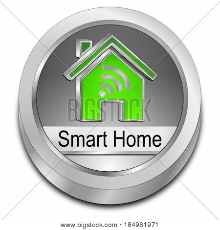 silver green Smart Home Button - 3D illustration